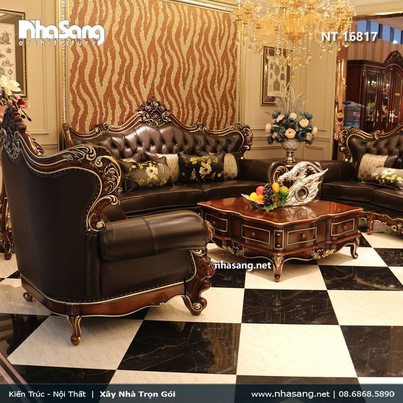 Sofa da tân cổ điển kiểu dáng Châu Âu tuyệt đẹp