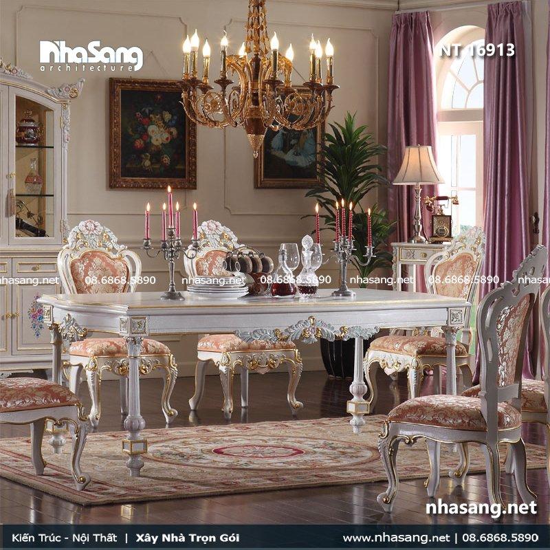 Bàn ghế phòng ăn Châu Âu dát vàng NT16913