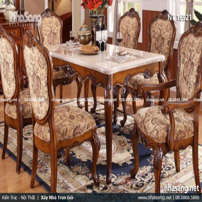 Bàn ghế phòng ăn tân cổ điển Hoàng Gia NT16921