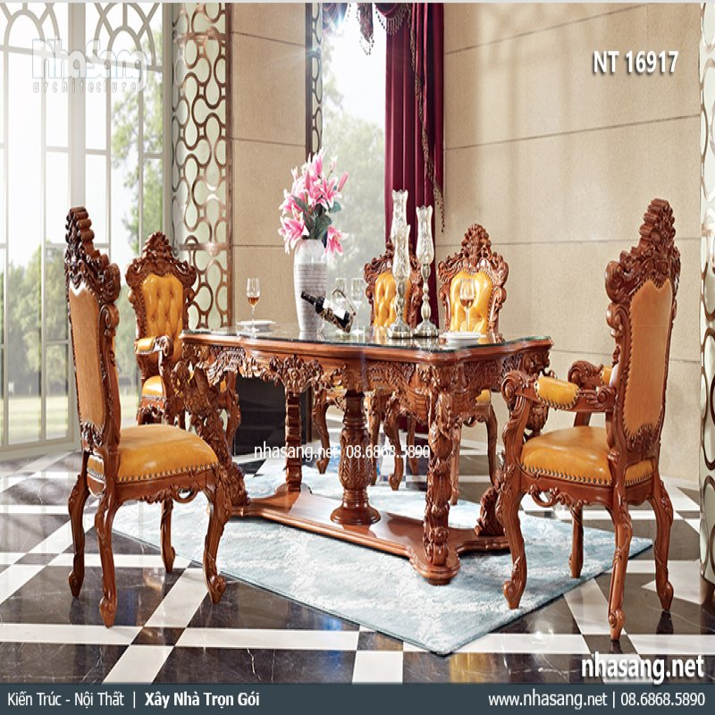 Bộ bàn ăn gỗ tân cổ điển Phượng Hoàng NT16917