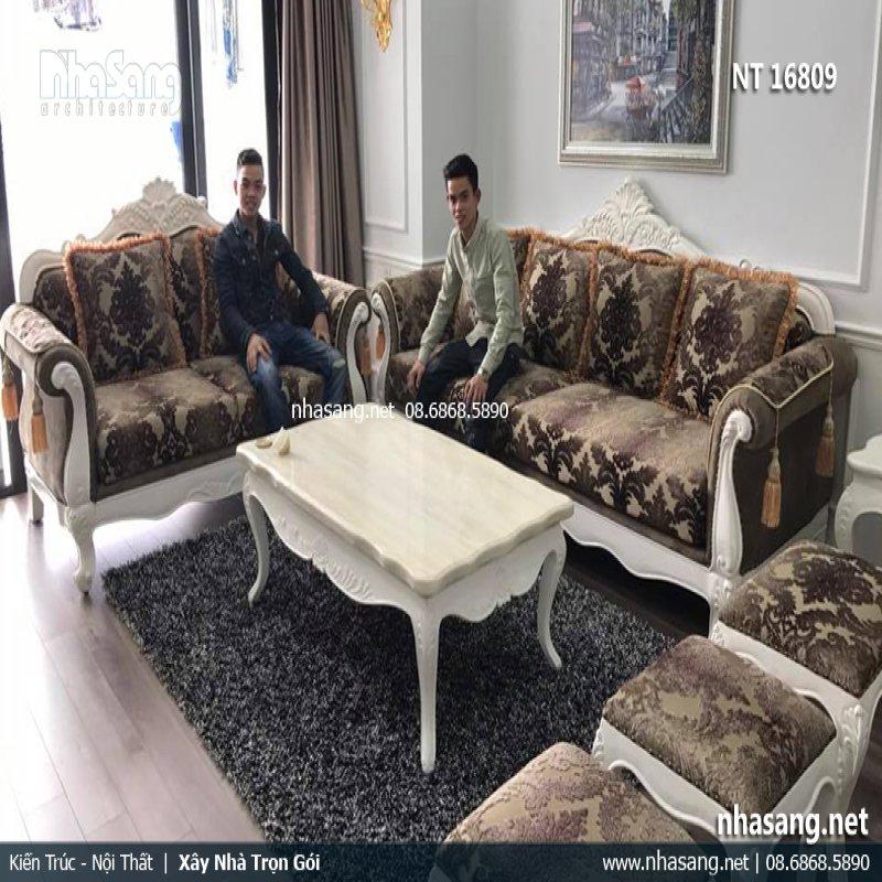 Bàn ghế sofa gỗ phòng khách phong cách Hoàng gia Châu Âu NT16809