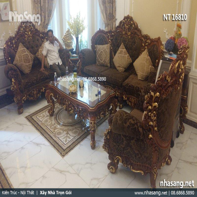 Bàn ghế sofa kiểu dáng cổ điển Châu Âu - điểm nhấn sang trọng cho phòng khách đẳng cấp NT16810