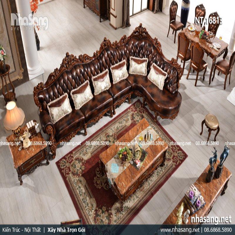 Sofa góc tân cổ điển phong cách hoàng gia quý tộc NT16813
