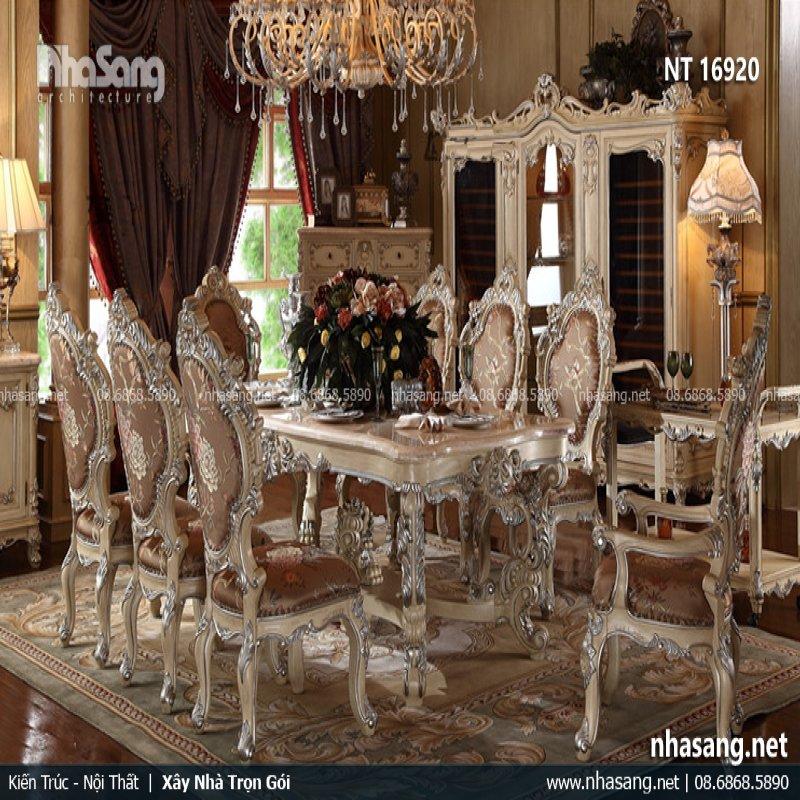 Bàn ghế phòng ăn tân cổ điển Châu Âu cao cấp NT16920