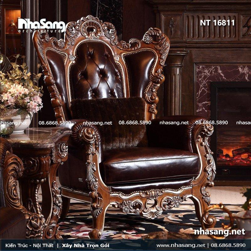 Sofa phòng khách gỗ gõ đỏ kiểu dáng cổ điển Châu Âu NT16811