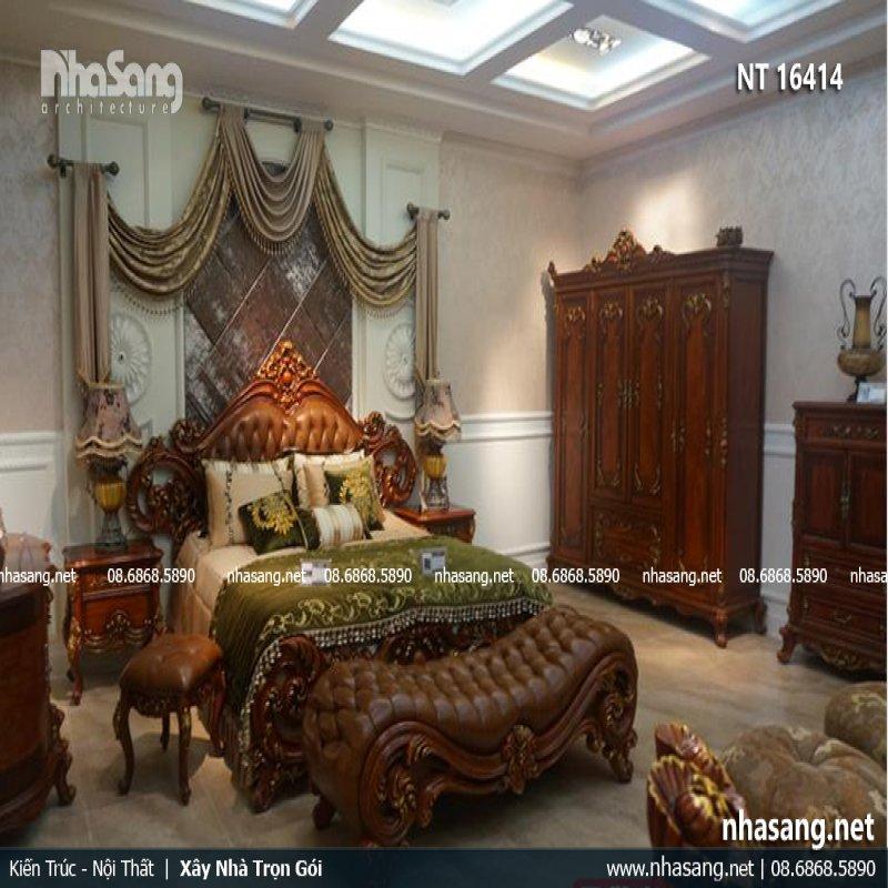 Giường ngủ cao cấp kiểu dáng cổ điển Châu Âu NT16414