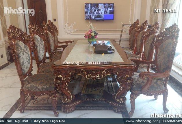 Bàn ghế phòng ăn Châu Âu tân cổ điển sang trọng NT16911