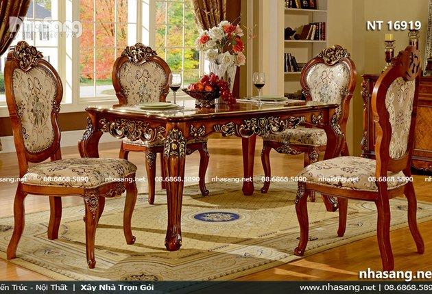 Bộ bàn ghế ăn cổ điển phong cách Châu Âu NT16919