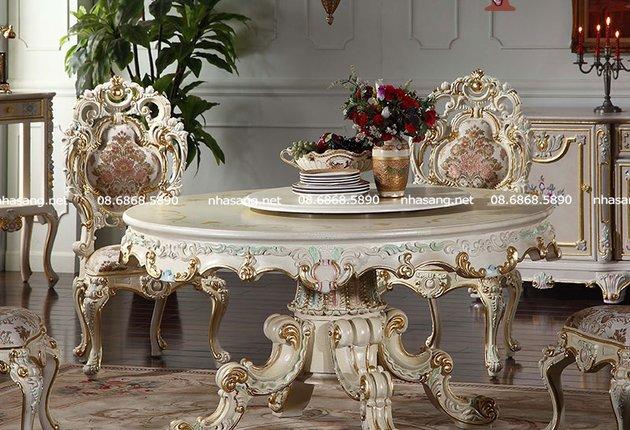 Bàn ghế ăn gỗ gụ bàn tròn mâm xoay Châu Âu NT16914