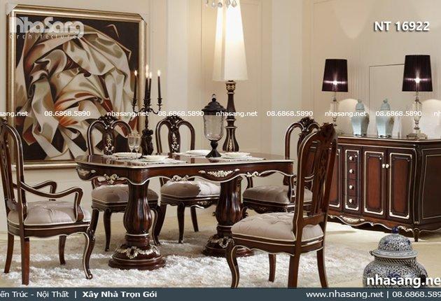 Bộ bàn ghế ăn cổ điển phong cách Châu Âu NT16922