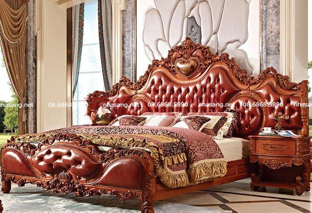 Giường ngủ tân cổ điển kèm tủ tab đầu giường bề thế NT16408