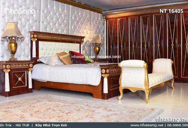 Giường ngủ gỗ tự nhiên phong cách hoàng gia Anh NT16405