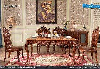 Bộ bàn ăn cao cấp phong cách Châu Âu NT16918