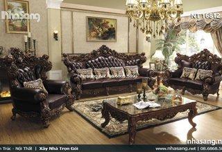 Bàn ghế sofa da tân cổ điển kiểu dáng Châu Âu tuyệt đẹp NT16812