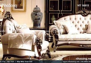 Sofa tân cổ điển Châu Âu sáng bừng không gian phòng khách NT16815