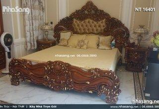 Giường ngủ gỗ gõ đỏ cao cấp phong cách Châu Âu NT16401
