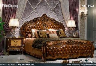Phòng ngủ sang trọng với giường ngủ bọc da bò êm ái NT16402
