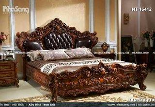 Giường ngủ da phong cách tân cổ điển chạm khắc tinh xảo NT16412