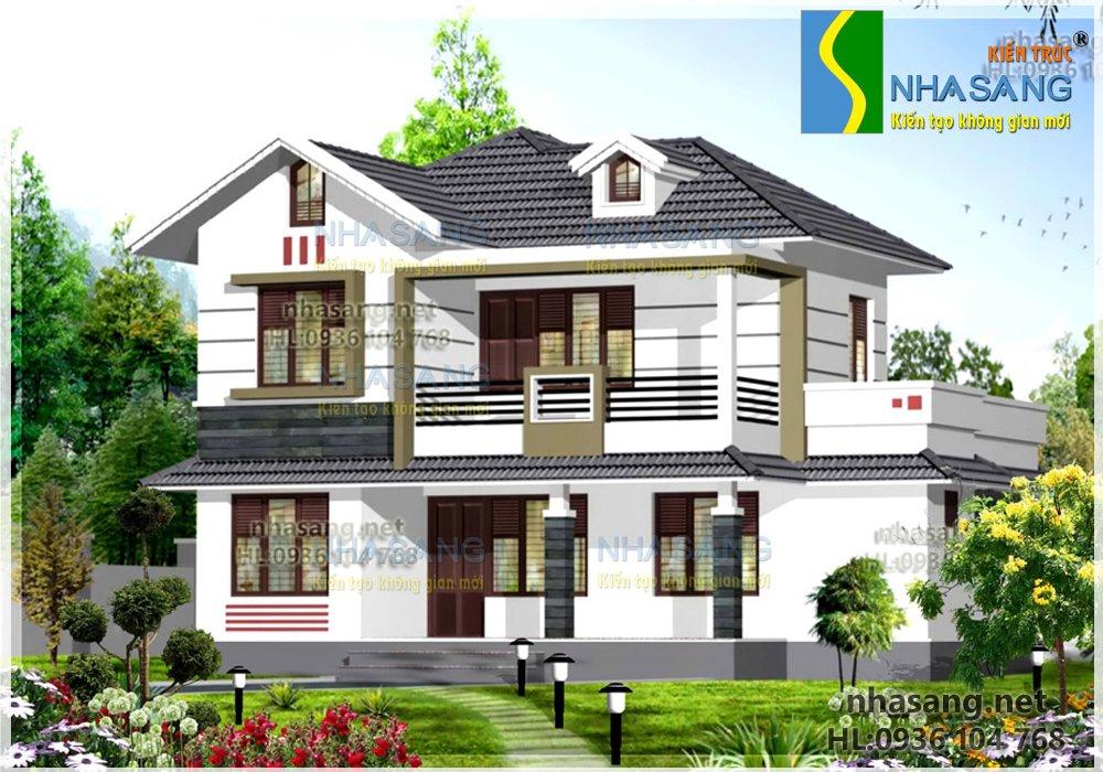 Thiết kế nhà ở 10x9m biệt thự nhà vườn BT14070