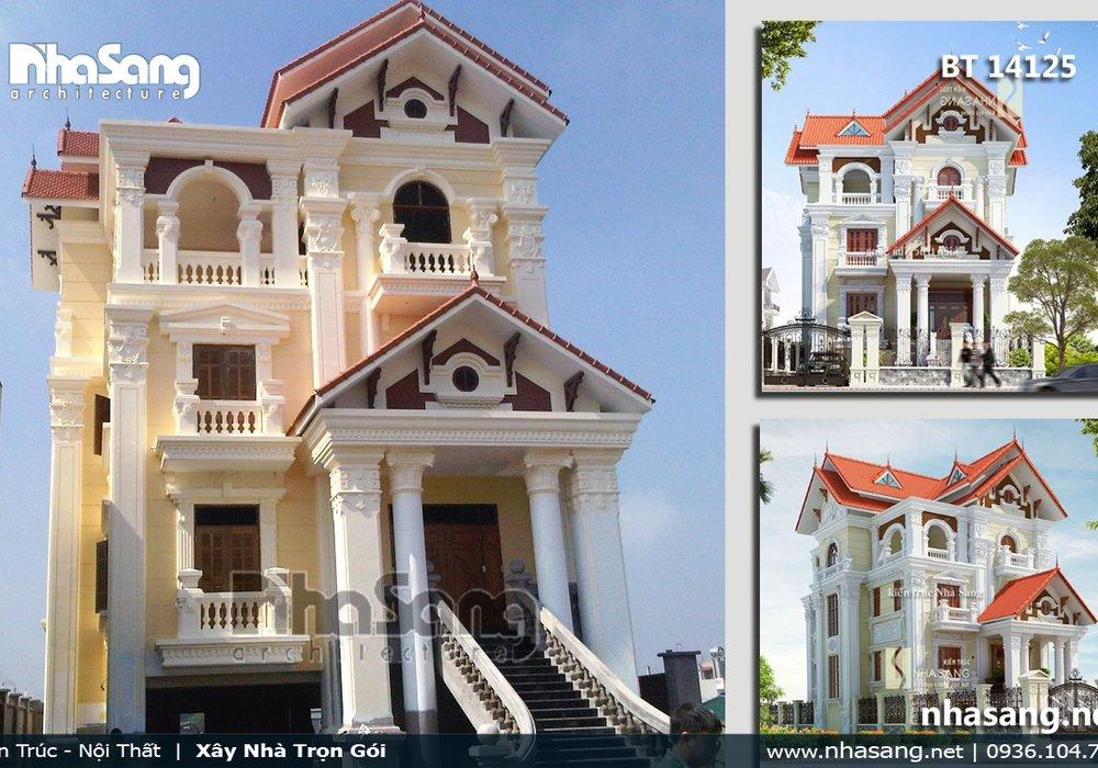 Mẫu thiết kế nhà biệt thự pháp đẹp 3 tầng - kiến trúc nhà phố BT14125