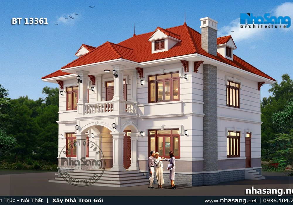 Mẫu biệt thự vườn đẹp 2 tầng mái thái tại Hưng Yên BT13361