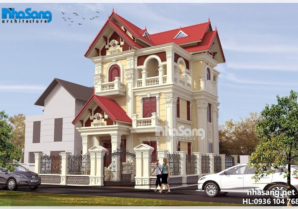 Biệt thự 3 tầng đẹp kiểu Pháp mặt tiền 8m tân cổ điển BT16006