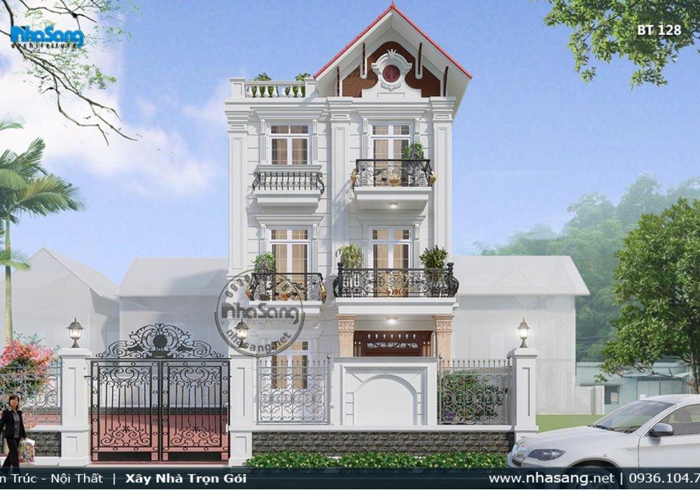 Thiết kế biệt thự 3 tầng mini tân cổ điển Pháp có thang máy BT128
