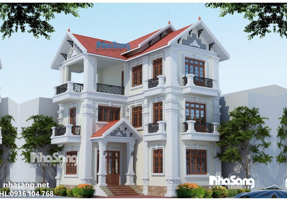 Biệt thự đẹp, mẫu nhà đẹp 3 tầng, biệt thự pháp đẹp 3 tầng bt14166