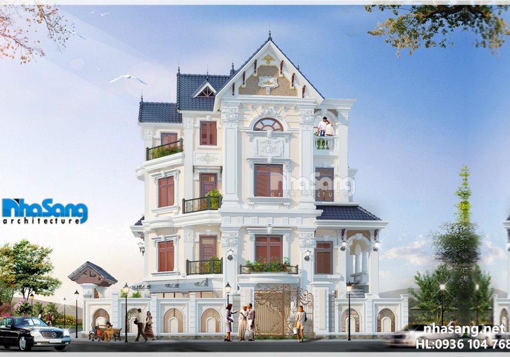 Mẫu nhà biệt thự đẹp 4 tầng kiến trúc tân cổ điển 2 mặt tiền 6m x 12,5m BT14171