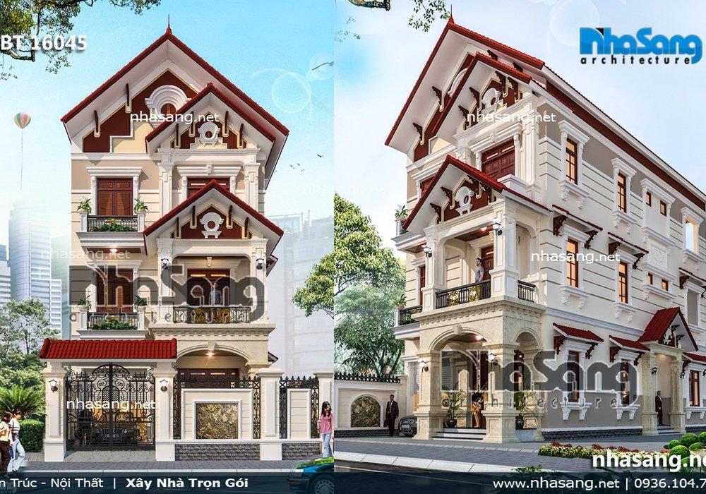 Biệt thự kiểu Pháp 3 tầng mặt tiền 7.6m BT16045