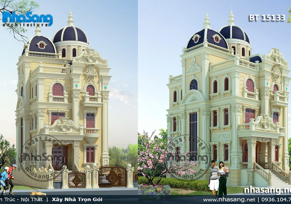 Thiết kế lâu đài 5 tầng kiểu Pháp BT15133