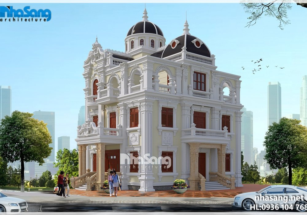 Thiết kế biệt thự lâu đài 2 mặt tiền hoành tráng BT16024