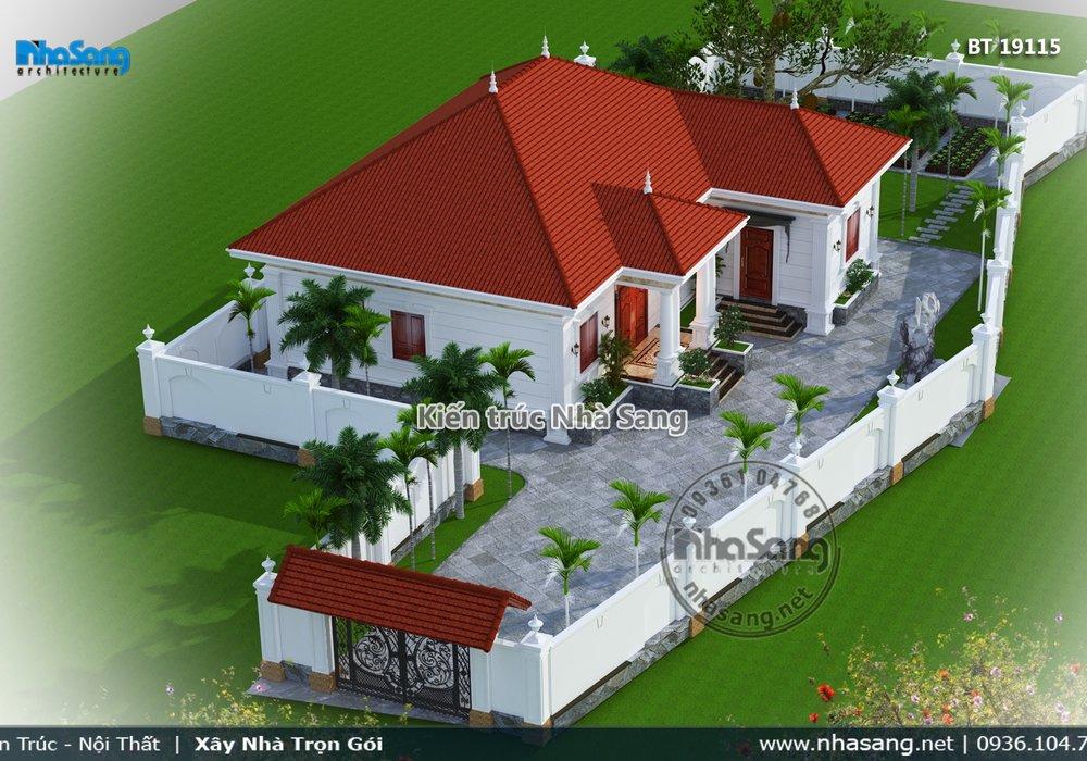 Mẫu thiết kế nhà đẹp 1 tầng cho gia đình 2 thế hệ BT19115