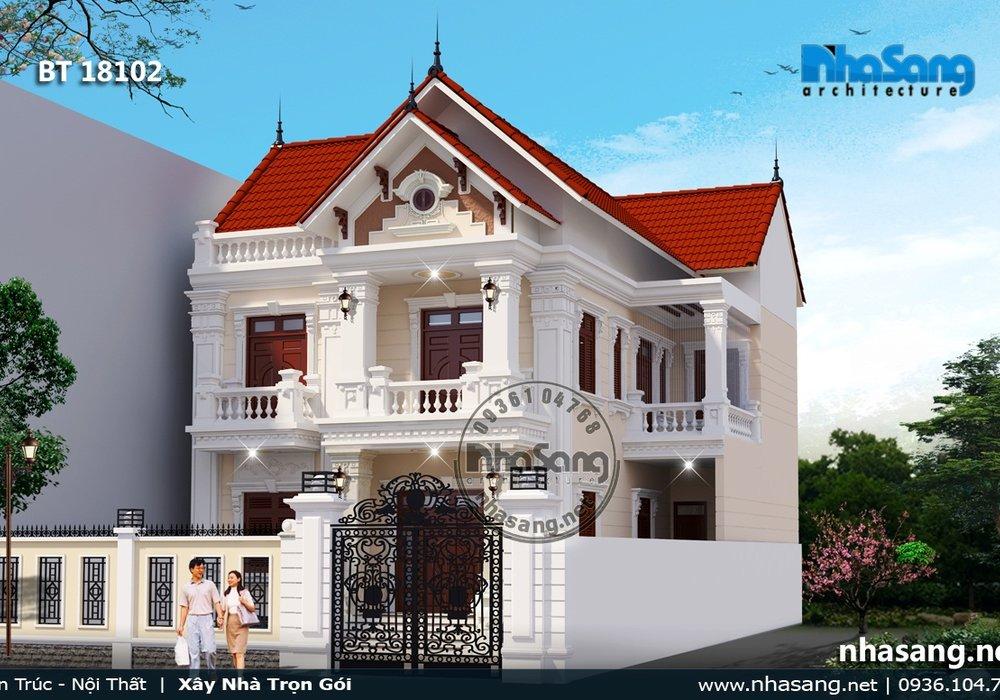 Mẫu nhà biệt thự đẹp cho đất mặt tiền 12m BT18102