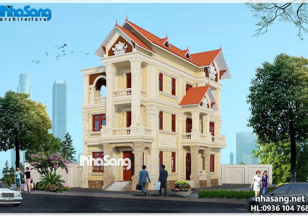 Biệt thự Pháp 3 tầng mặt tiền 8.2m vẻ đẹp sang trọng, kiên vững BT16011