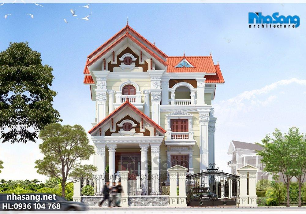 Mẫu thiết kế nhà biệt thự pháp đẹp 3,5 tầng 12,2m x 12,7m BT14128 - nhà phố hiện đại