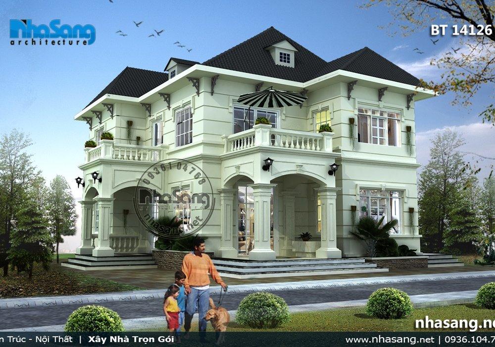 Mẫu thiết kế nhà biệt thự kiểu pháp đẹp 3 tầng 11m x 12,5m BT14126 - nhà phố 2 tầng
