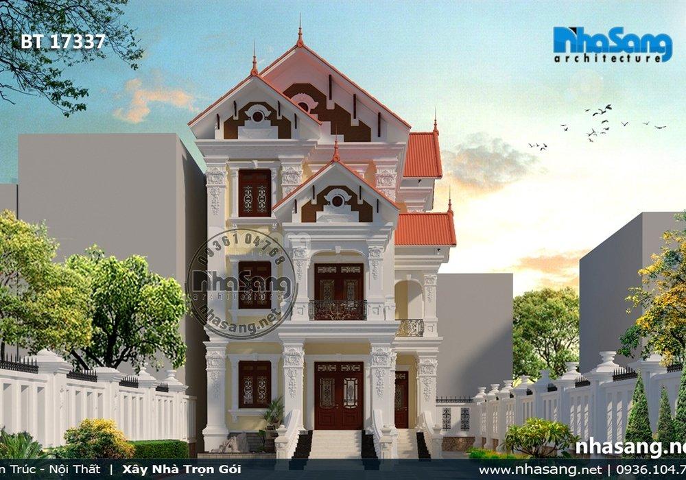 Biệt thự 3 tầng mặt tiền 9m tân cổ điển Pháp BT17337