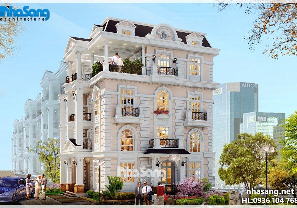 Thiết kế dinh thự Châu Âu 4 tầng BT15161
