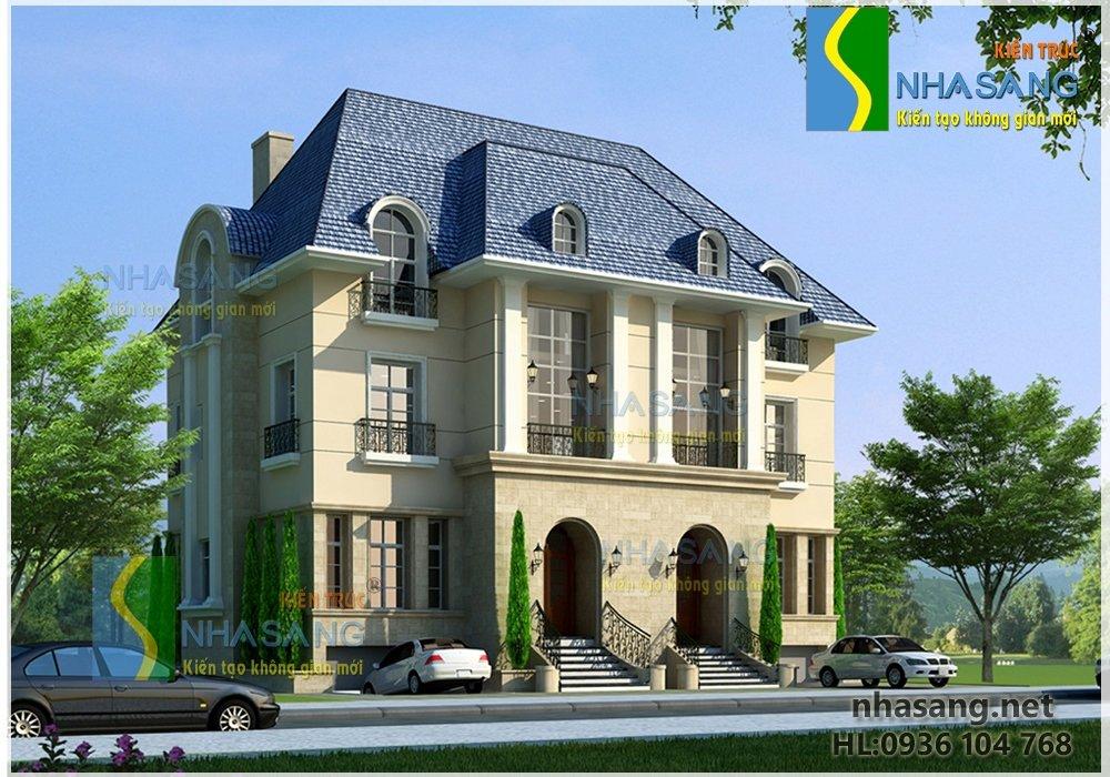 Mẫu thiết kế biệt thự đẹp sang trọng theo phong cách cổ điển BT402