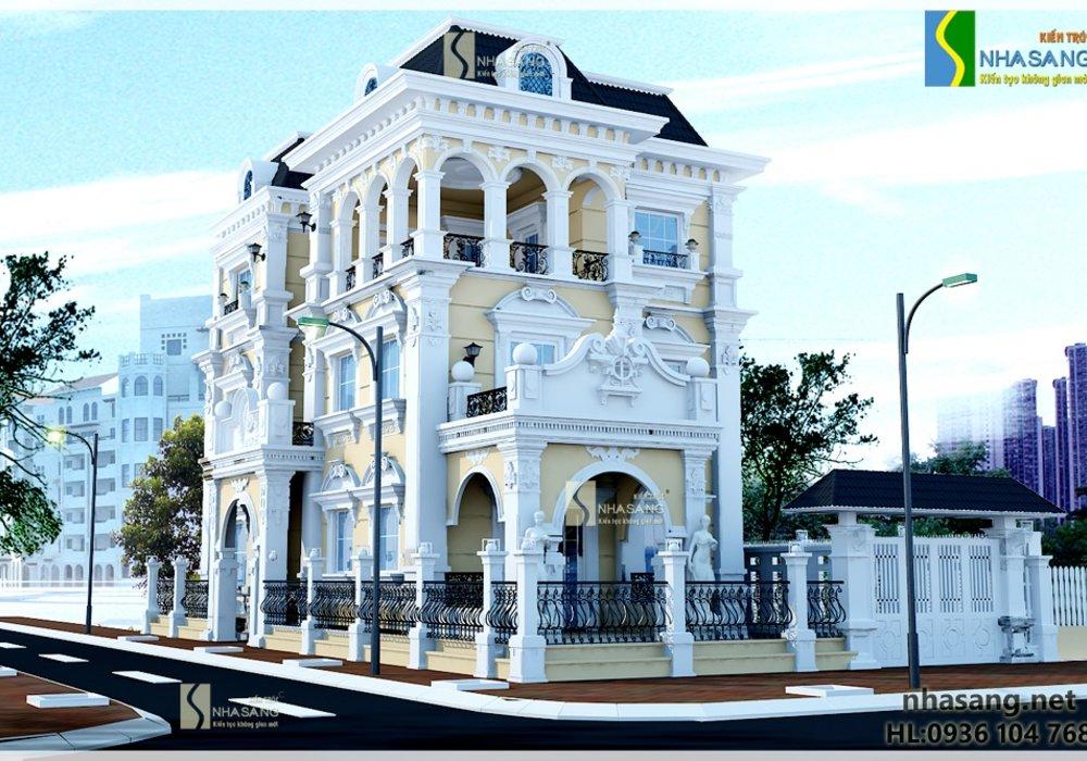 Mẫu Biệt thự Pháp đẹp 3 tầng 8,4m x 13,3m BT14131