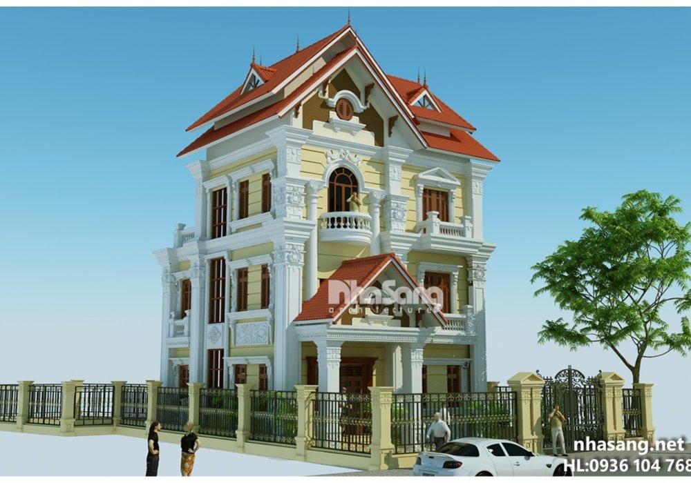 Mẫu Biệt thự Kiểu Pháp đẹp 3 tầng 10m x 10m BT14159 - thiết kế nhà phố 2 tầng