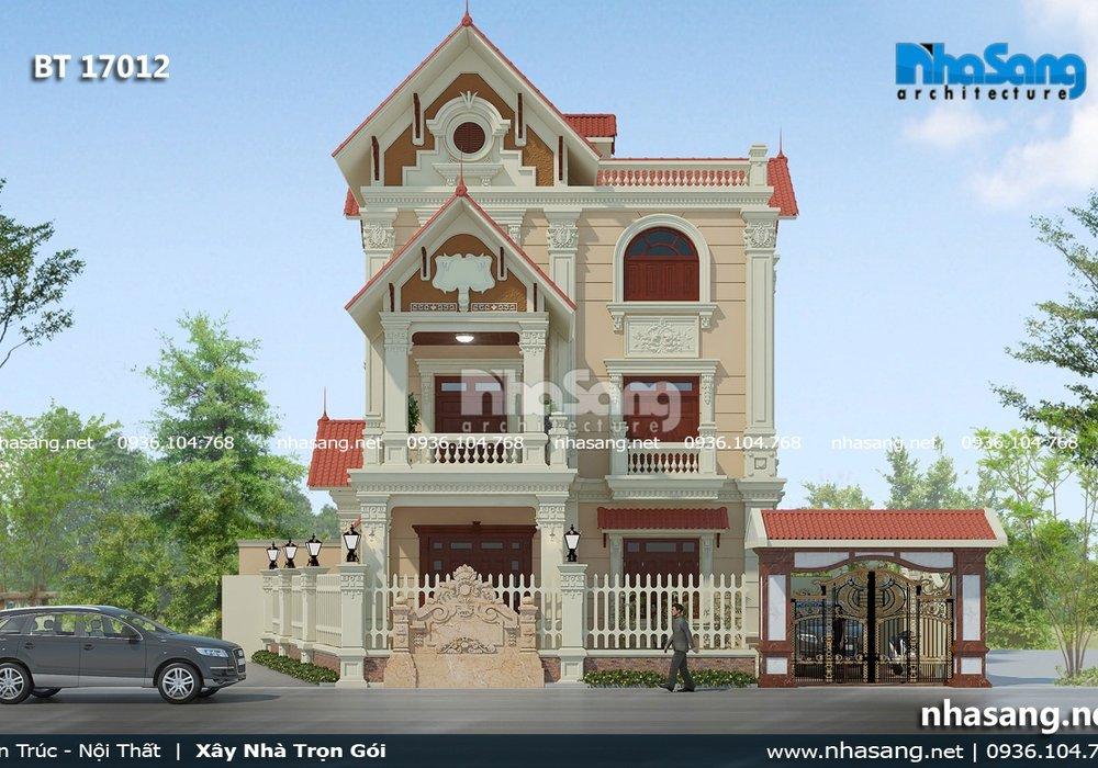 Mẫu biệt thự 3 tầng mái Thái kiểu Pháp BT17012