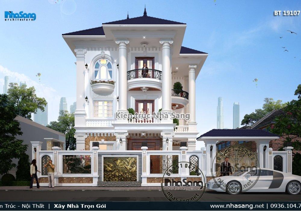 Mẫu biệt thự kiểu Pháp 3 tầng mái thái tại khu đô thị mới Bắc Ninh BT19107