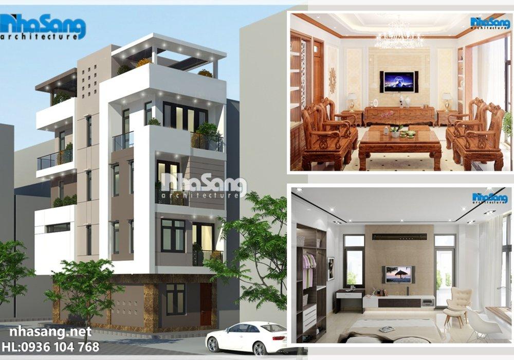 Mẫu nhà đẹp 5 tầng 6m x 12m5 biệt thự liền kề 2 mặt tiền hiện đại BT14172