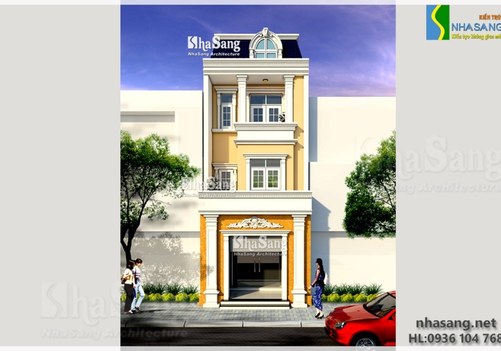 Mẫu nhà Lô phố đẹp 3 tầng mặt tiền 5m BT14136
