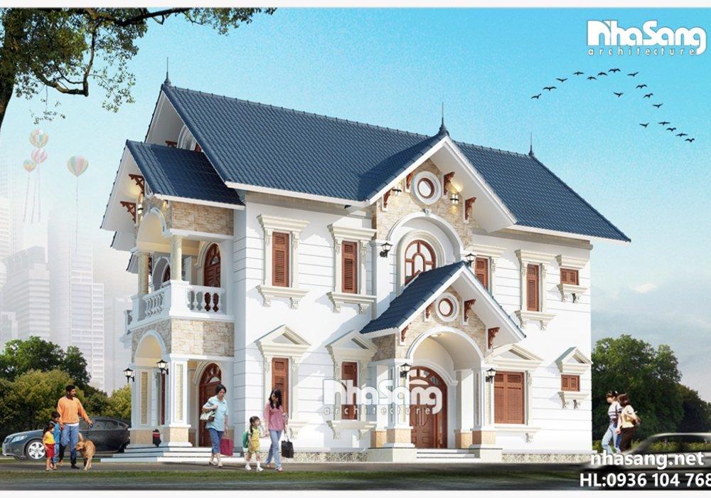 Mẫu nhà vườn 2 tầng đẹp mái thái tân cổ điển BT14176