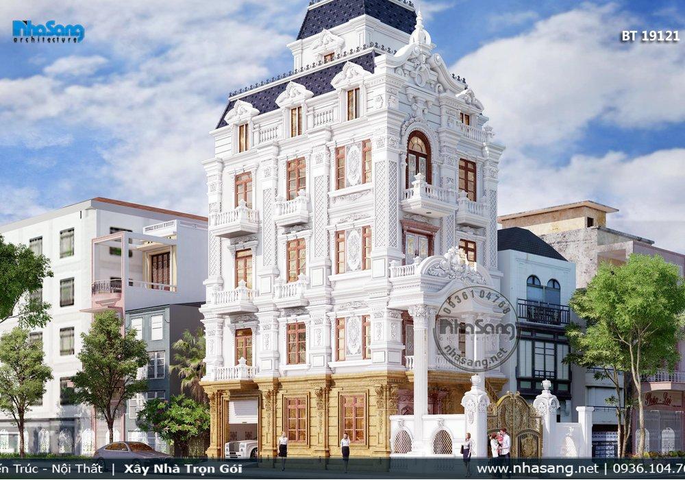 Mẫu biệt thự bán cổ điển Pháp mặt tiền 7.5m 5 tầng mãn nhãn BT19121