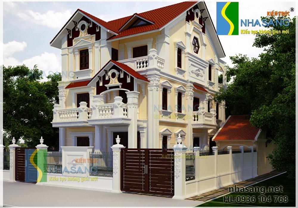 Mẫu thiết kế biệt thự tân cổ điển 3 tầng 10m x 14m BT14085