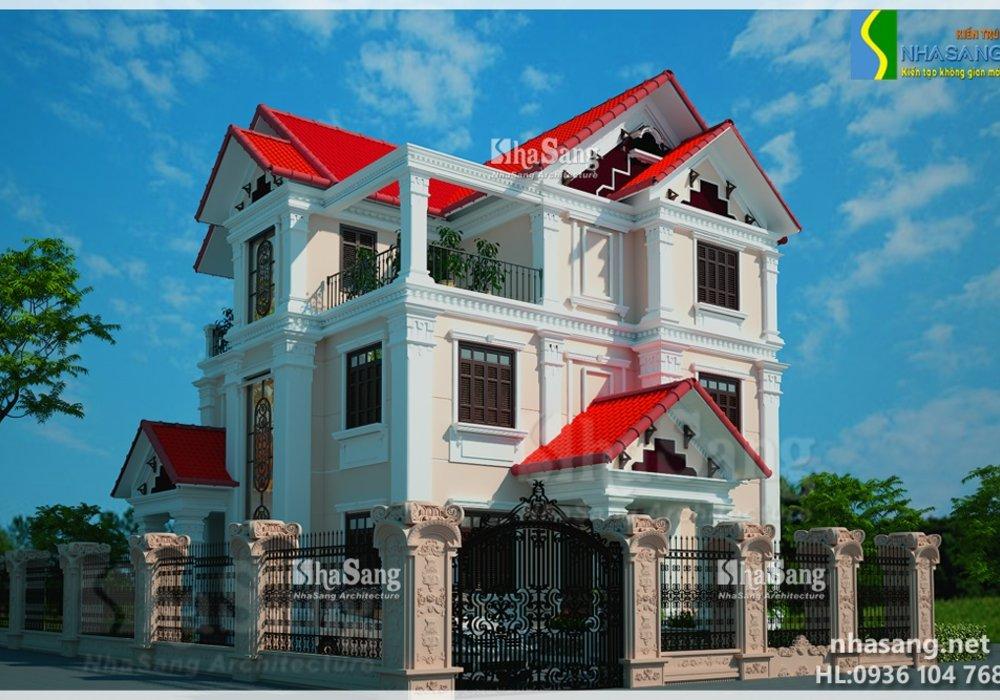 Mẫu thiết kế Biệt Thự đẹp 3 tầng mặt tiền 15m BT14145